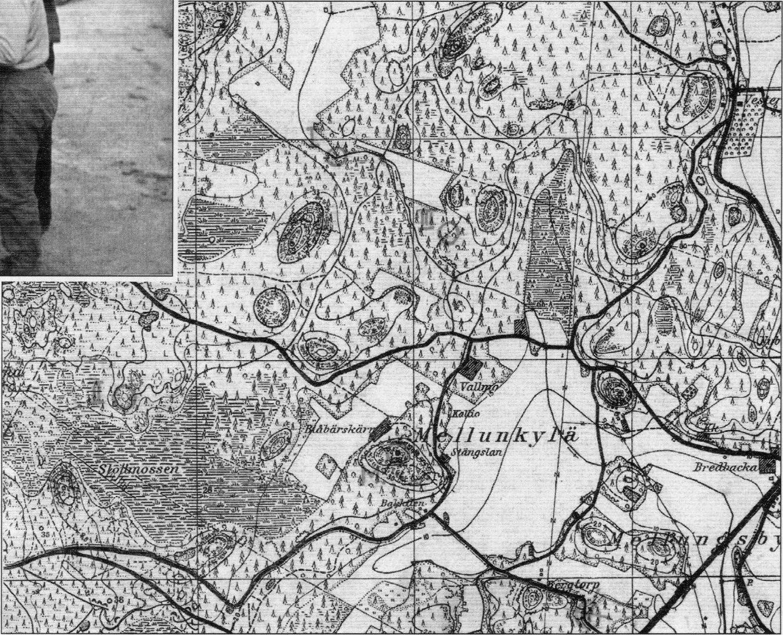 Suunnistuskartta Mellunkylän alueesta vuodelta 1945