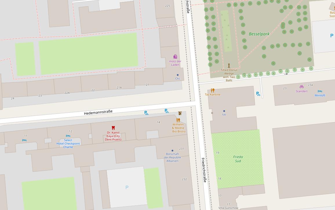 Kartalla Berliinin Friedrichstraße ja Hedemannstraße
